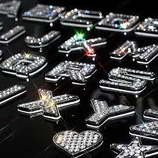 rhinestone letter stickers 3d bling emblem sticker alphabet letters and numbers with