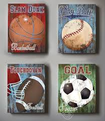 Sports Nursery Wall Decor Wall Decor Sports Set Of 4 Canvas Sports Room Decor Canvas