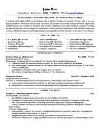 resume templates 2015 administrator programmer database developer network administrator resume