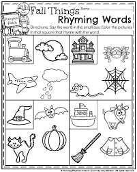october kindergarten worksheets kindergarten worksheets rhyming
