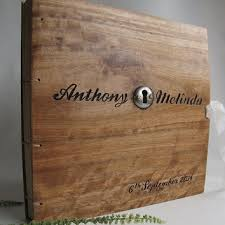 engraved wedding album personalized wedding album reclaimed wood from lacunawork on etsy