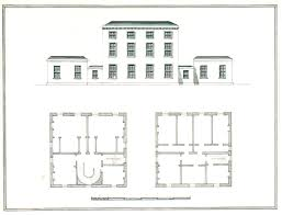elevation and two ground plans of a three storey building with