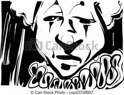 vector clipart of sad clown sketch illustration black and white