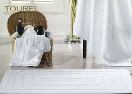 Ultra Thin Bath Mat Jacquard Luxury 100 Cotton Hotel Bath Mats Thin Towel Floor Mat