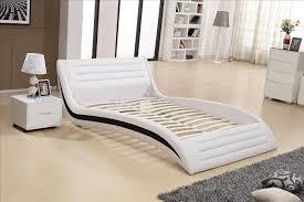 curved bed frame bedroom furniture modern design top grain leather soft bed 1 8 2