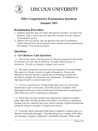mba comprehensive exam questions summer 2011 strategic