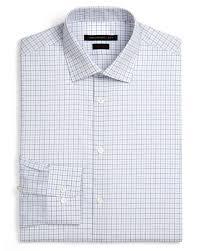 john varvatos grid dress shirt slim fit in blue for men lyst