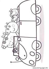 peppa pig family car coloring pages printable