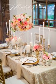 Table Decorations Centerpieces Elegant Coral And Gold Wedding Reception Inspirations Flowers