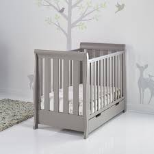 Nursery Cot Bed Sets by Obaby Solid Wood 3 Piece Stamford Sleigh Mini Cot Bed Set Taupe
