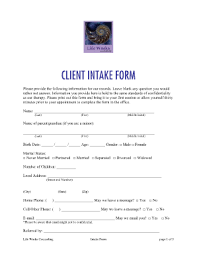 Counseling Intake Form Counseling Intake Forms Sles Fill Printable Fillable