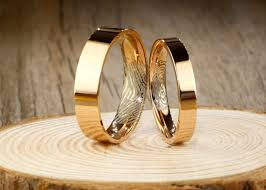 couple rings titanium images Print thumb print rings personalize rose gold flat matching jpg