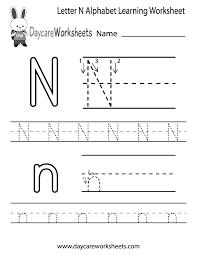 free preschool letter worksheets free letter n alphabet learning worksheet for preschool