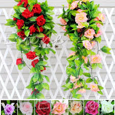 stylish rose flower fake artificial ivy vine hanging garland