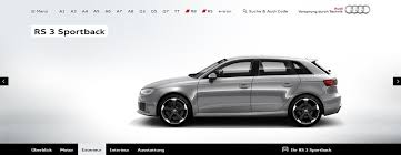 audi a3 configurator audi rs3 sportback configurator up and running