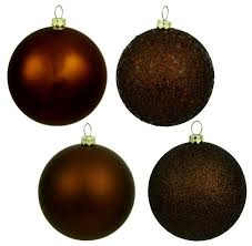 6 chocolate brown shatterproof 4 finish ornaments
