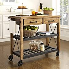 kitchen prep table wood top stainless kitchen trolley stand alone