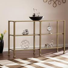 Media Console Table Dina Metal Glass 3 Tier Console Table Media Stand Gold 8521753