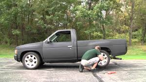 stanced nissan hardbody nissan d21 wheel change youtube