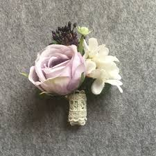 wedding wrist corsage artificial silk flower groom boutonniere purple wrist