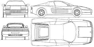 ferrari drawing car blueprints ferrari testarossa blueprints vector drawings