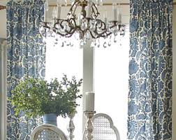 Blue And White Floral Curtains Floral Drapes Etsy