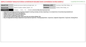 manufacturing job resume garment manufacturing supervisor resume sample