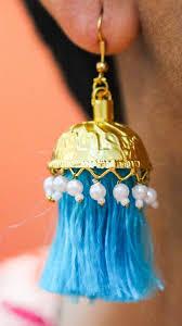 lotan turquoise resham silk tassels and gold pearl jhumka