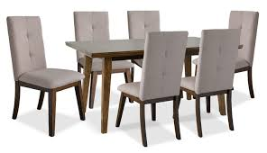 chelsea 7 piece dining table package with beige chairs the brick 7 piece dining table package with beige chairs hover to zoom