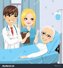 Doctor And Nurse Doctor Nurse Visit Senior Old Man Stock Vector 157627022
