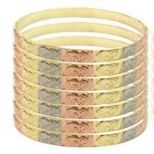 bangle bracelet color gold plated images Raf rossi gold plated sets tri color elephants 5mm x 3 wide jpg