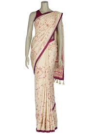 arong saree beige nakshi kantha embroidery silk saree from aarong