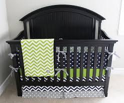 Grey And Green Crib Bedding Boy Crib Bedding Lime Green Chevron Navy Blue And Grey