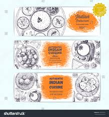 indian food vintage design template horizontal stock vector