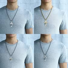 men necklace lengths images Jesus cross pendant necklace for men stainless steel box chain cz JPG