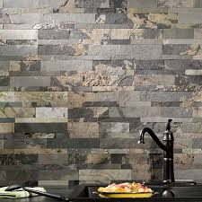 Peel N Stick Backsplash by Aspect Backsplash Stone Tile In Medley Slate