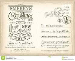 Happy New Year Invitation Vintage Christmas And Happy New Year Holiday Postcard Background