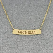 name engraved necklace gold name engraved horizontal curve bar necklace 1 inch