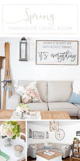 a bright airy farmhouse style spring living room making it in