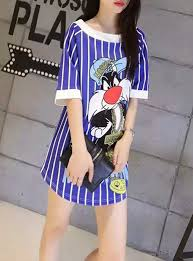 sylvester shirt shirt dress sylvester the cat character boat neck curved hem