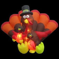 airblown turkey family lighted outdoor