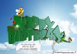 bienen sprüche happy birthday grüner 3d text im himmel schwebend mit spruch