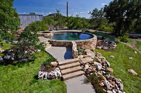 above ground pool landscaping ideas with led lighting stone steps