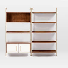 Wall Shelves With Drawers Linden Mid Century Wall Shelf Set With Storage West Elm