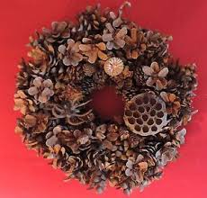 pinecone wreath vintage made christmas pinecone wreath pine cone seed pod ebay