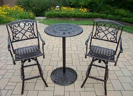 City Furniture Patio by Oakland Living Cast Metal Bar Set With Round Bar Table And Swivel