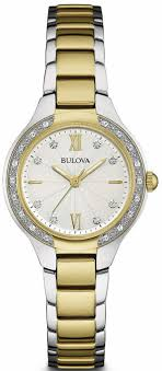 bulova watches ladies bracelet images Women 39 s bulova diamond gold link stainless steel watch 98r221 gif