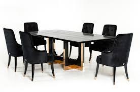 padua modern large black crocodile u0026 rosegold dining table