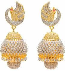 jhumki earring peacock cubic zirconia brass jhumki earring at rs 680 pair
