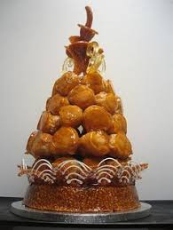 a profiterole tower style beautiful french croquembouche with